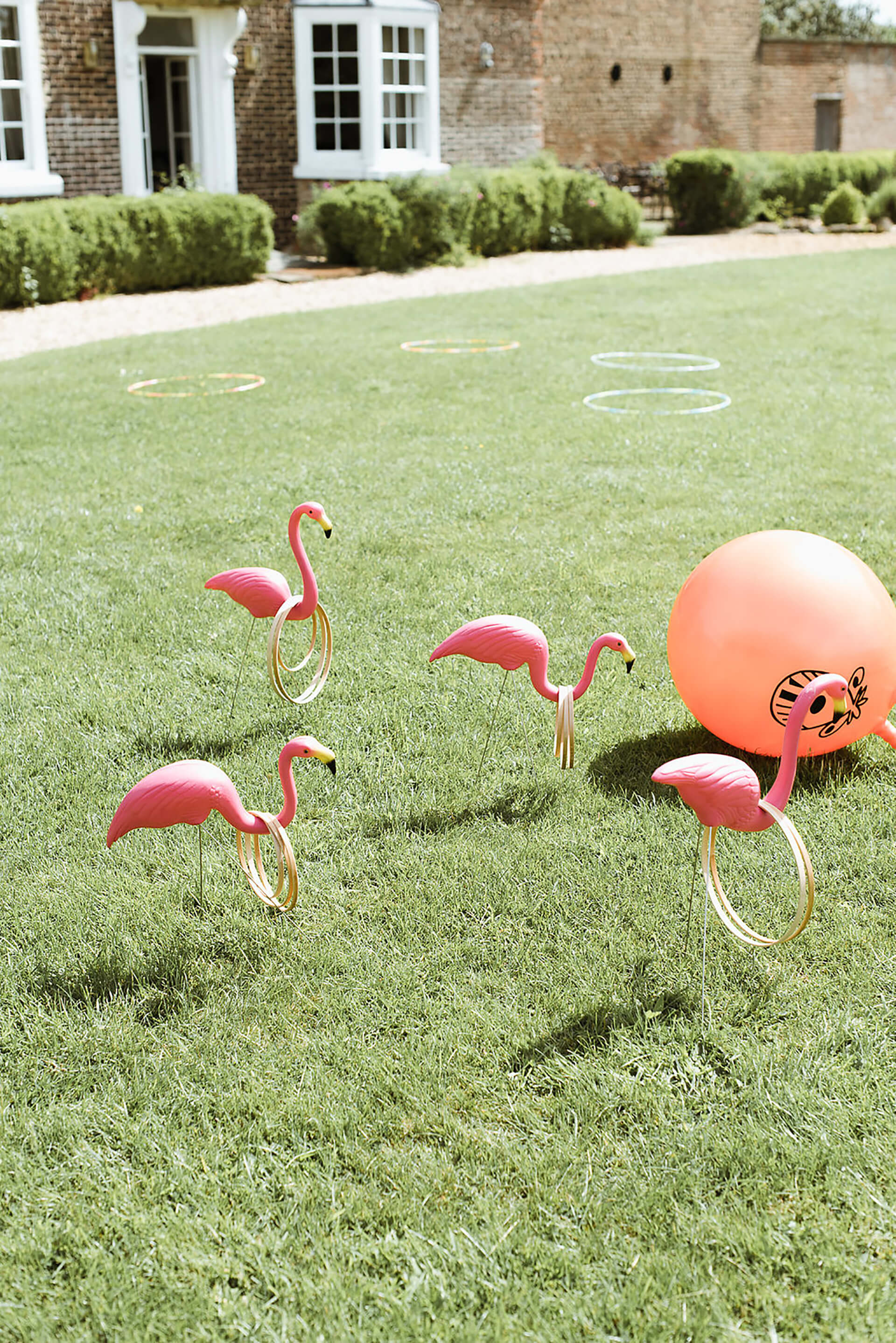 "Summer Flamingo Fun at Jack and Danielle's wedding! Photo by <a href=""http://www.alexandraholtphotography.com/"" target=""_blank"">Alexandra Holt</a>"