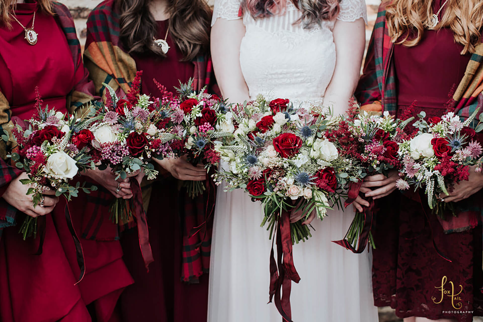 "We are so in love with the warm burgundy of Becky's flowers! Photo by <a href=""http://foxtailphotography.co.uk/"" target=""_blank"">Fox Tail Photography</a>"