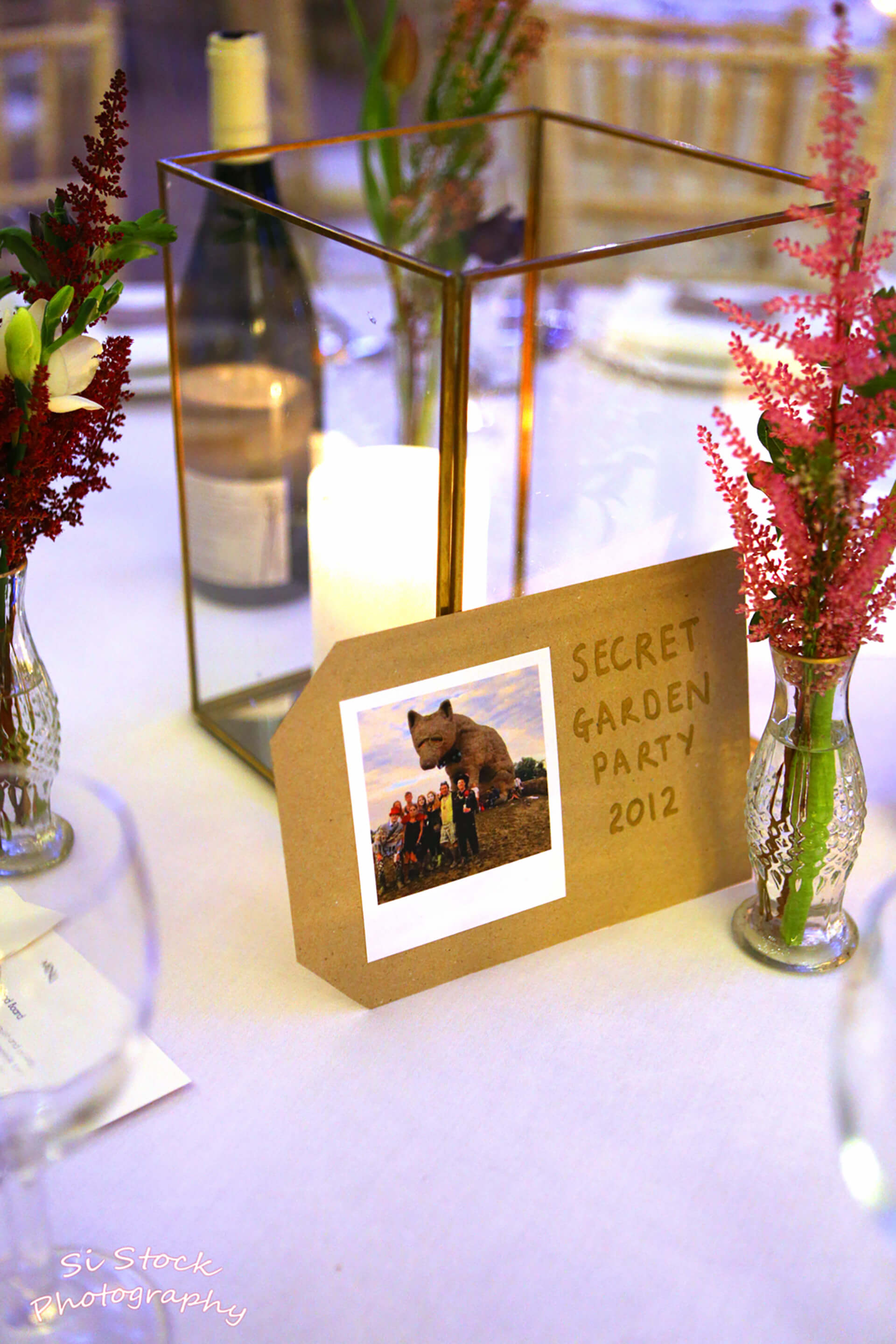 Claire and John's favourite experiences together named each table. Photo by Simon Stock.