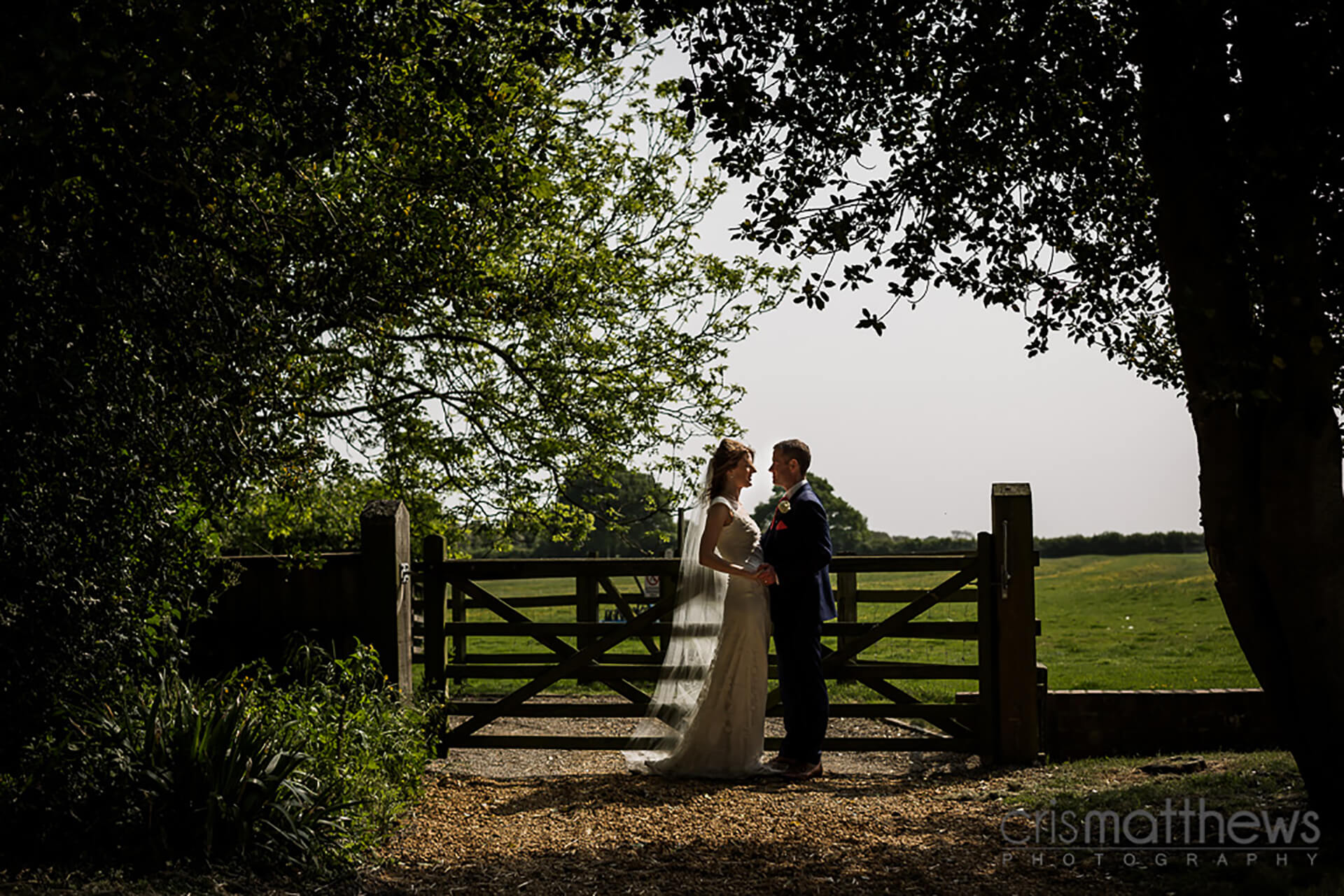 "Rhank you to <a href=""http://www.crismatthews.com/"">Chris Matthews Photography</a>for this shot of Bride and Groom exploring the grounds."