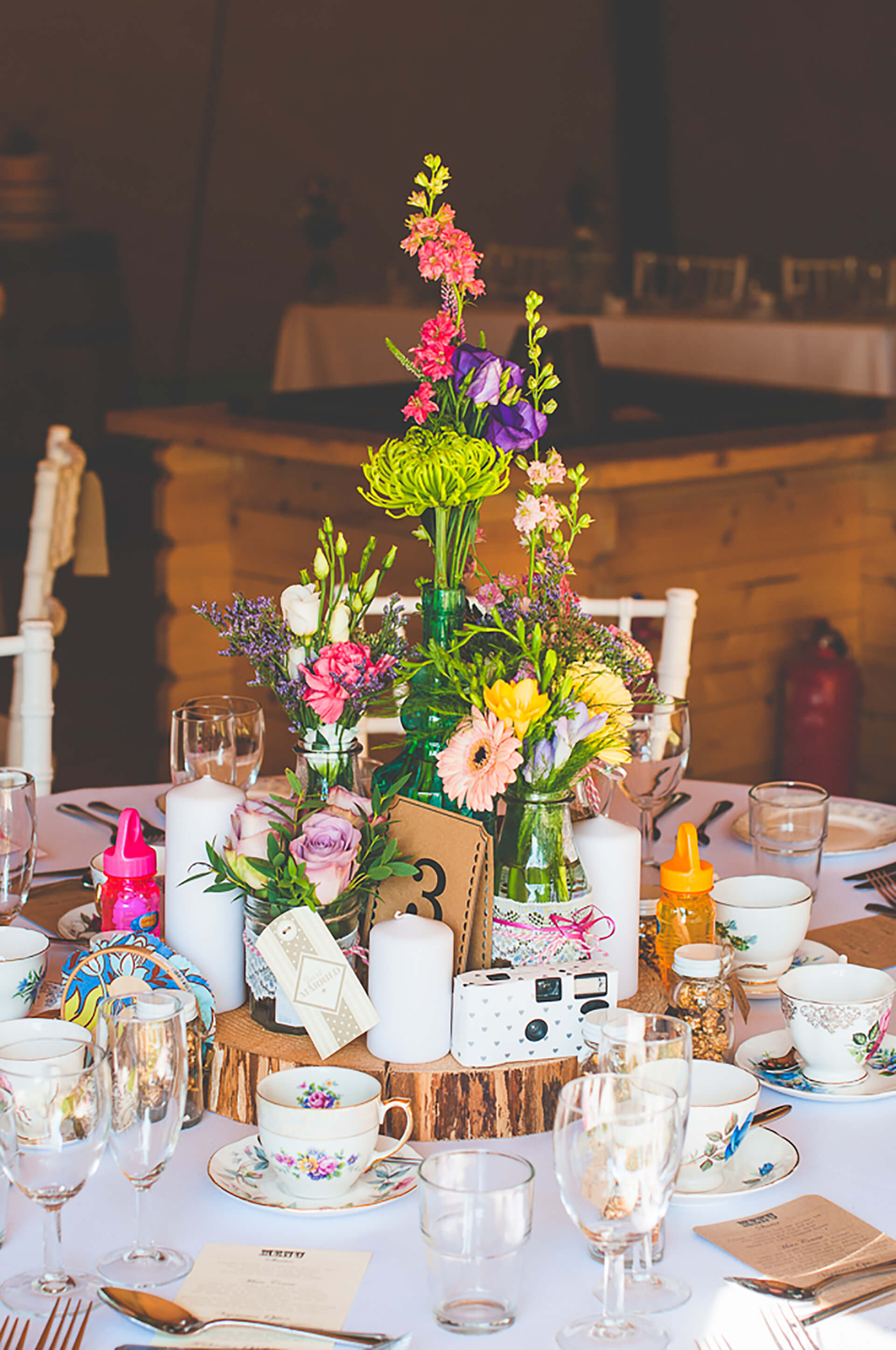 "Incredible centrepieces at Danielle and Jack's summer wedding. Photo by <a href=""http://www.alexandraholtphotography.com/"" target=""_blank"">Alexandra Holt</a>"