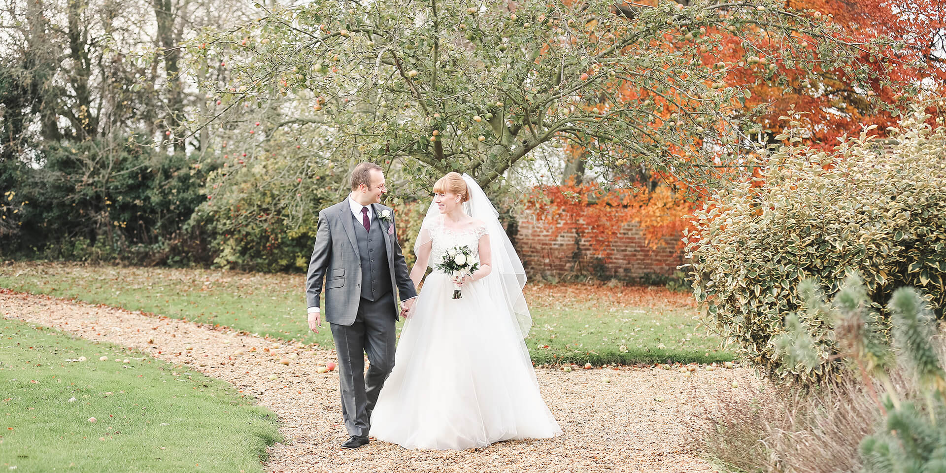 Autumn in the Manor Grounds for Kirsty and Richard. Captured by Cream Photography.