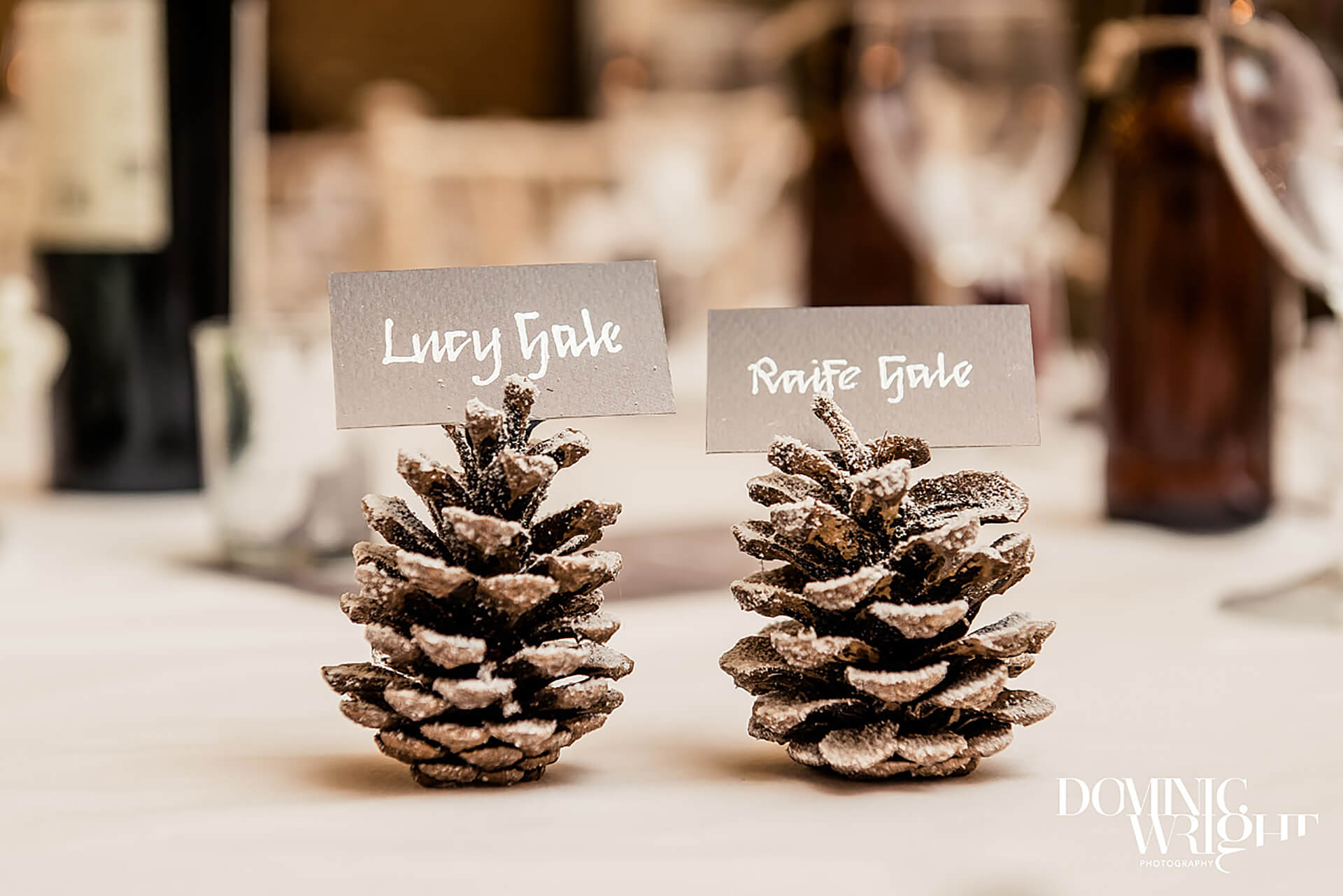 "How beautiful are these place card holders at Lucy and Raife's winter wedding? Photo by <a href=""http://www.dominicwright.co.uk/"" target=""_blank"">dominic Wright Photography</a>"