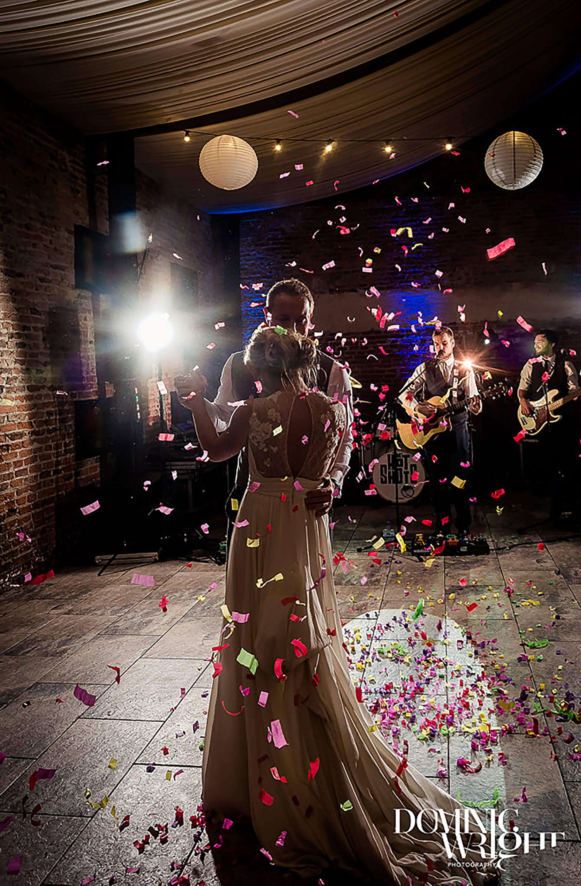 "A colourful explosion for Lucy and Raife. The moment was captured by <a href=""http://www.dominicwright.co.uk/"" target=""_blank"">Dominic Wright Photography</a>"