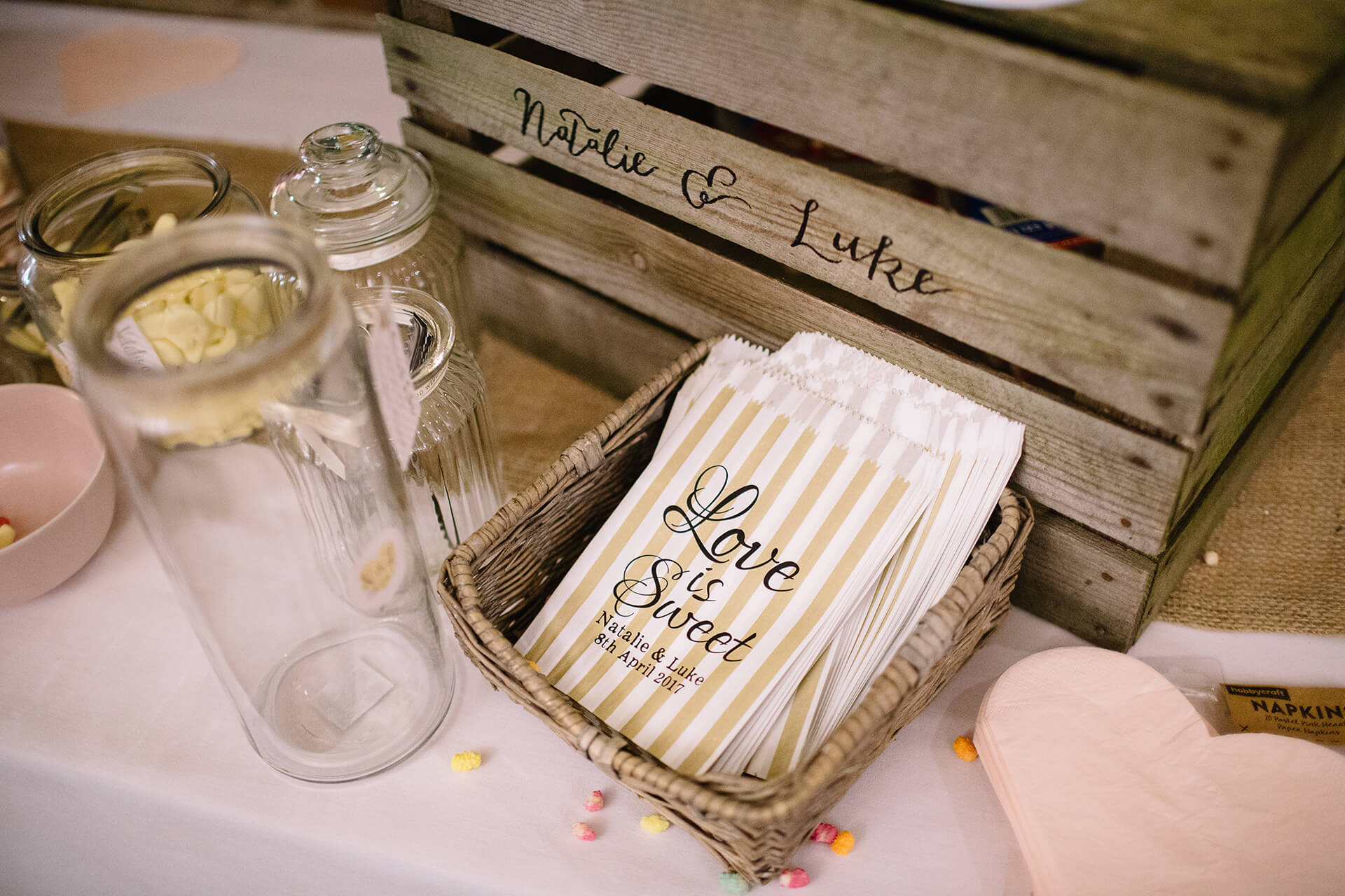 "Adorable personolised sweet bags from Natalie and Luke's wedding, captured by <a href=""http://www.joestenson.co.uk/"">Joe Stenson</a>."