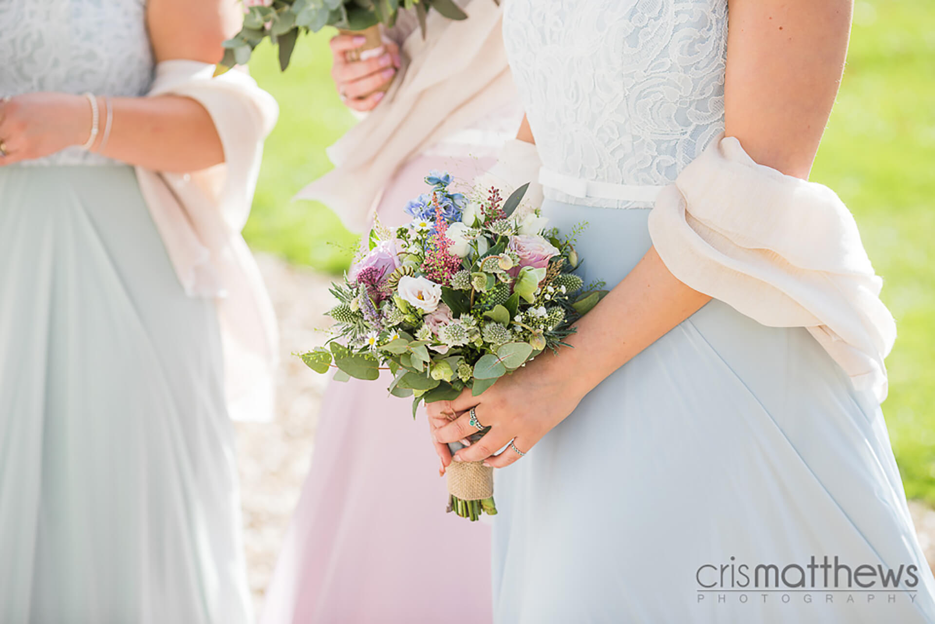 "A summer pastel bouquet at Rachael and Dan's wedding. Photo by  <a href=""http://www.crismatthews.com/"">Chris Matthews Photography</a>"