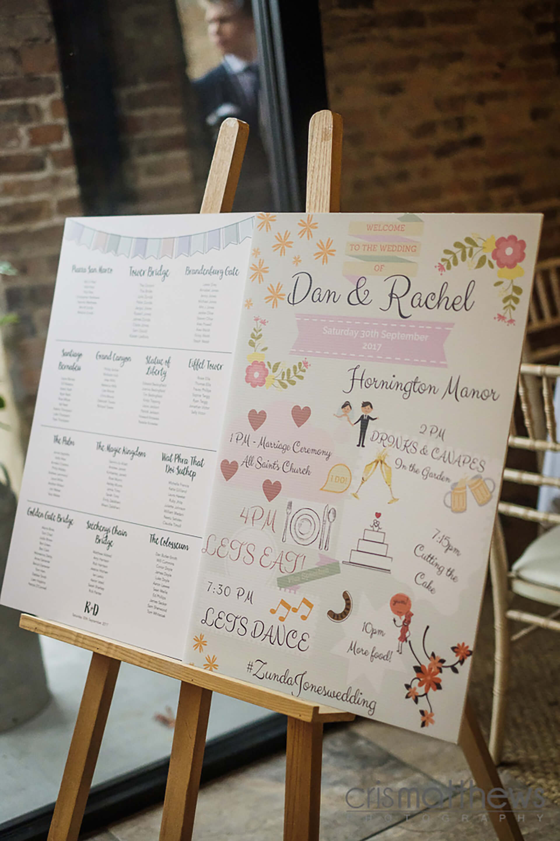 "Rachel and Dan's seating plan, captured by <a href=""http://www.crismatthews.com/"">Chris Matthews Photography</a>."