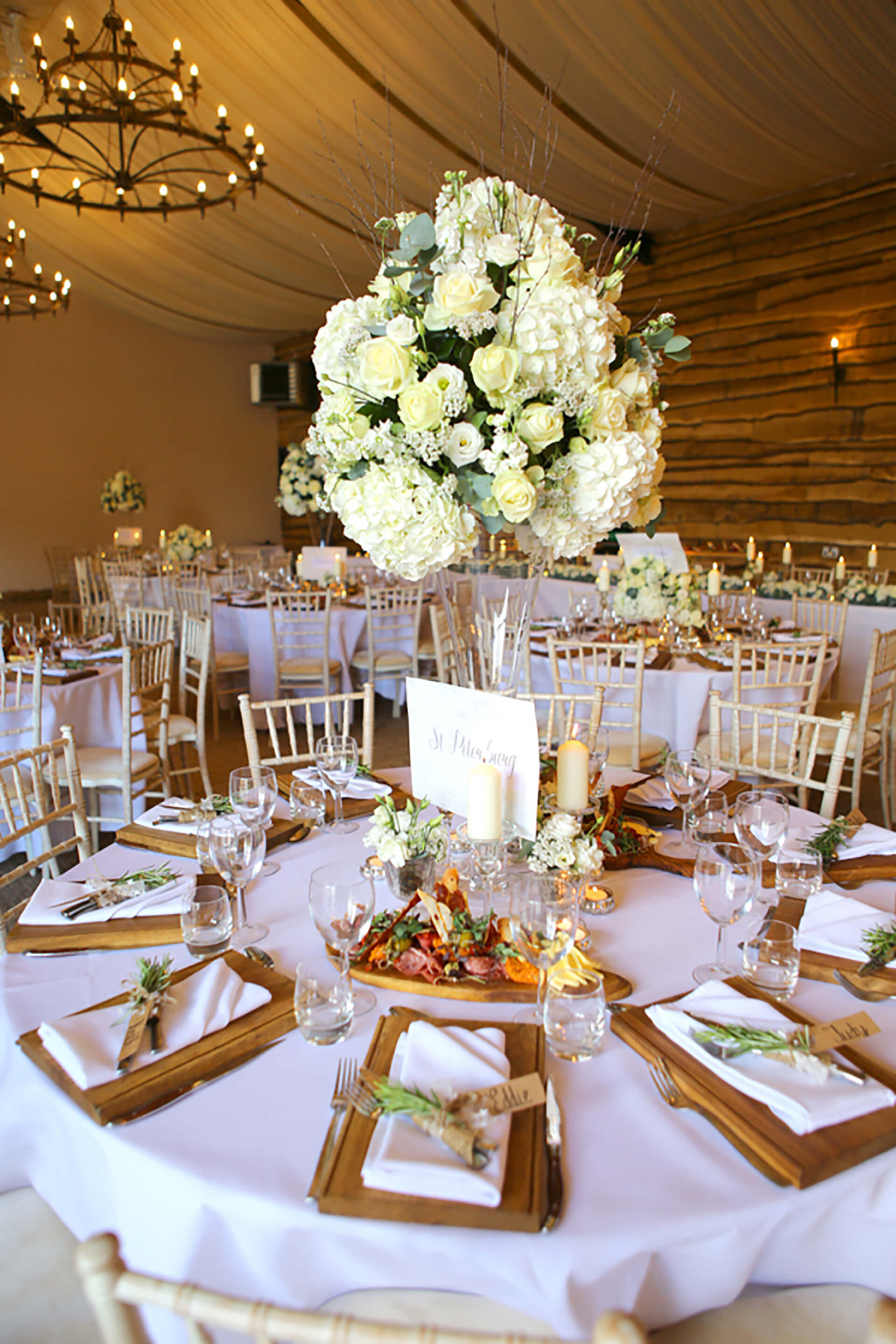 Rebecca and Tebo's amazing centrepieces. Photo by Simon stock.